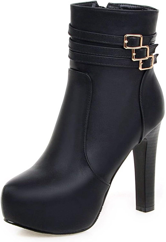 DoraTasia Women's Buckle Strap Non-Slip Platform Chunky Heel Ankle Boots