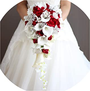 Saimer-Store Wedding Bouquet Rose Bouquet with Crystal Waterfall Vintage Pearl White Artificial Flowers Bouquet,Red