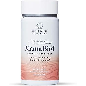 Mama Bird Prenatal Multi+ Iodine & Iron Free, Methylfolate (Folic Acid), Methylcobalamin (B12), Natural Whole Food Organic Herbal Blend, Vegan, Once Daily, 30 Ct, Supports Immunity, Best Nest Wellness