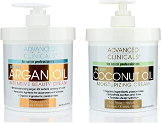 Advanced Clinicals Coconut Oil Cream and Argan Oil Cream Set. Value skincare set contains best-selling Coconut Oil and Arg...