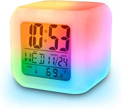 ADTALA Smart Digital Alarm Clock with Automatic 7 Colour Changing LED Digital Alarm Clock with Date, Time, Temperature for Office and Bedroom - White