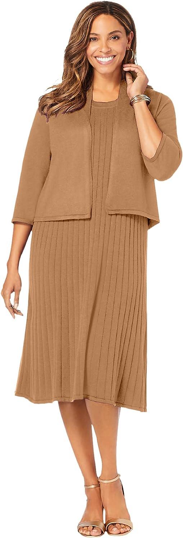 Jessica London Women's Plus Size Sweater Jacket Dress Cardigan Set