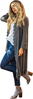 Women's 3/4 Sleeve Lace Trim Casual Wrap Cardigan Coverup...