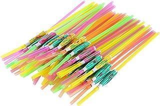 TOYANDONA 200pcs Disposable Drinking Straws Fluorescence Umbrella Design for Beach Theme Island Themed Party (Mixed Color)