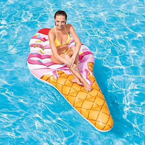 RongDuosi Summer Seaside Pvc drijvende rij strand spelen zwembad afdrukken roze ijs opblaasbare volwassenen zwemmen cirkel buiten 224 * 107cm drijvend bed zwemmen bed
