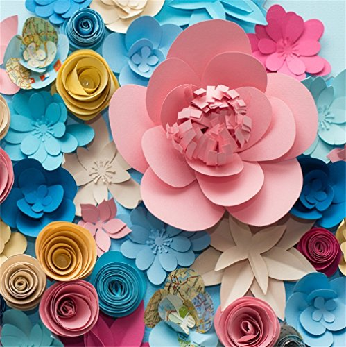 CSFOTO 8x8ft Background for Birthday Decor Paper Flowers Blue and Pink Yellow Blossom Closeup Beautiful Abstract Floral Photography Backdrop Love Wedding Photo Studio Props Portrait Vinyl Wallpaper