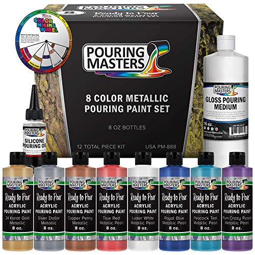 Pouring Masters 8-Color Ready to Pour Acrylic Pouring Paint Set