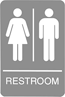 علامة هيدلاين 5221 ADA Restroom مع رسومات لمسية، 6 بوصة × 9 بوصة، رمادي فاتح/أبيض