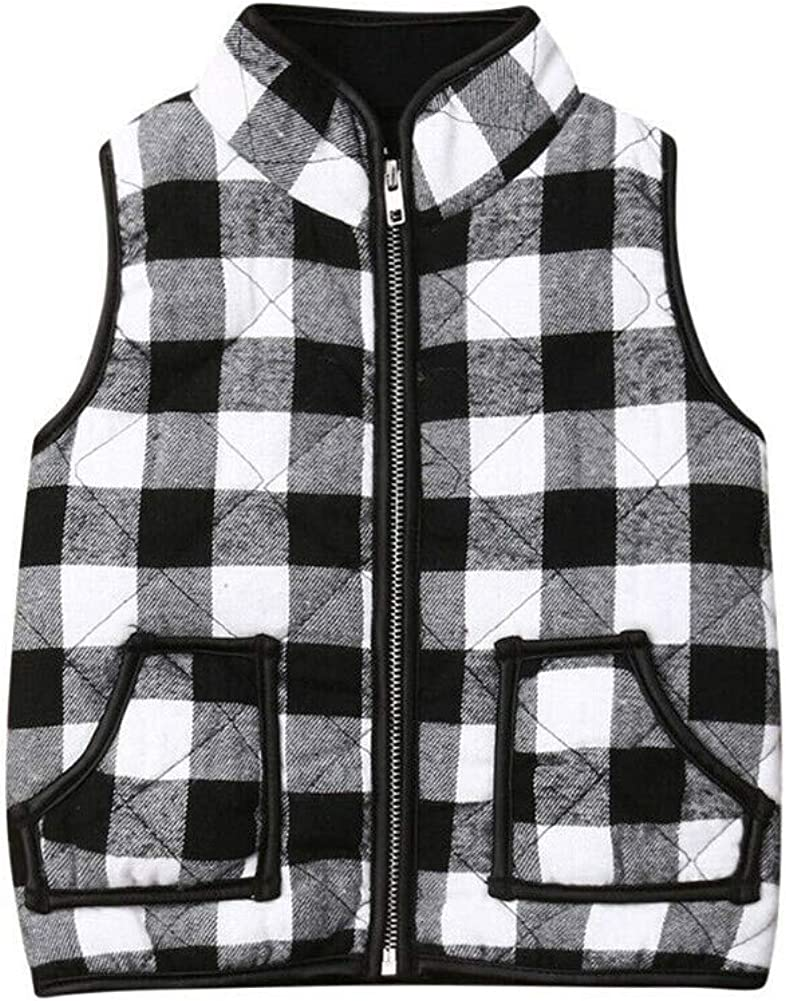 Toddler Baby Girl Plaid Zipper Jacket Kids Sleevless Fall Winter Warm Waistcoat Vest Pocket Coat Tops: Clothing