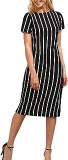 Womens Dresses Striped Short Sleeve Crewneck Summer Casual Dresses Beach Party Knee Length Dresses