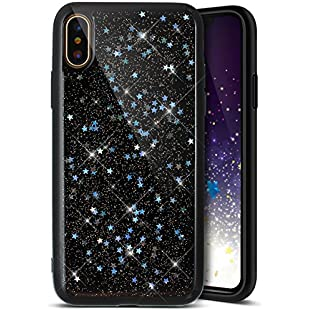 iPhone X Case,iPhone X Black Bling Glitter Case,Ukayfe Luxury Sparkle Bling Case Cover for iPhone X, Sparkle Star Pattern Glitter Shiny Soft Gel TPU Silicone Case Scratchproof TPU Bumper Protective Back Case Cover For iPhone X (Silver Star):Shizuku7148