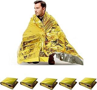 サバイバルシート 5枚セット エマージェンシーシート 非常時生活用毛布 防災グッズ アウトドア 防寒 保温 アルミシート 防水 遮熱 避難用品 ゴールド シルバー 両面 160×210cm