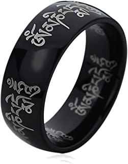 Titanium Wedding Band Ring for Men & Women Tibetan Mantra Om Mani Padme Hum Black Ring for Men & Woman
