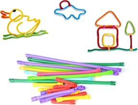 Toyzabo Flexible Building Stick Toys Bendable Twister Rod Construction Educational for Boys Girls DIY STEM Games Playset