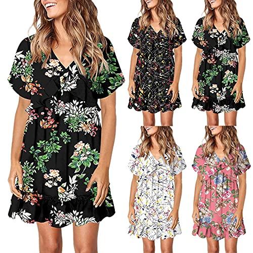 MEIYOUMK Sommerkleid Damen V-Ausschnitt Rüschen Print Kleid Swing Casual Kurzarm Minikleid A-Linien Kleid Strandkleid hohe Taille Volantkleid...