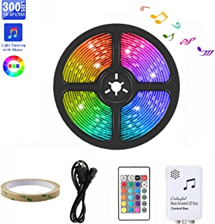 LED Strip Lights, ZHT 16.4Ft/5M 300 LED Lights Sync to Music with 24 Keys IR Remote and 12V Power Supply Flexible 5050 RGB Rope Light Strips Kit for Home, Bedroom, Kitchen, DIY Decoration