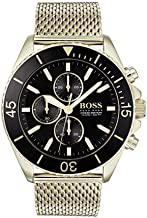BOSS Ocean Edition, Chrono Quartz Gold Plated and Mesh Bracelet Casual Watch, Yellow, Men, 1513703