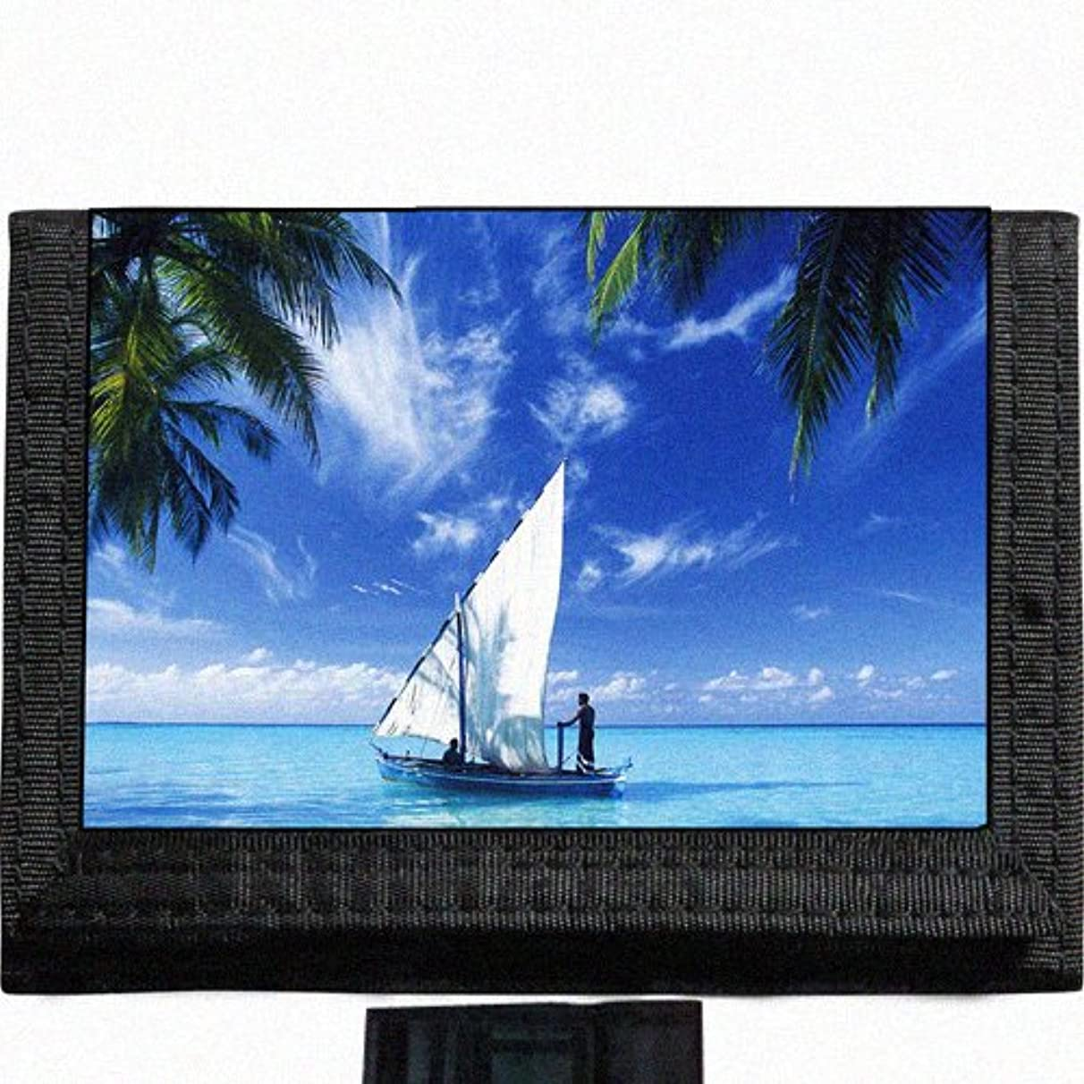 Scenic Sailing Sail boat tropical beach Black TriFold Nylon Wallet Great Gift Idea