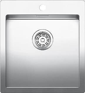 Blanco Claron 400-IF/A Sonder Edelstahl-Spüle, manuelle Ablaufgarnitur, Flachrand für 45 cm Unterschrank, silber, 519056