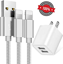 Boost Chargers 10W USB Power Adapter Wall Charger 2.4A 2-Port Fast Charge for Plug Outlet w/ 6FT 2M Nylon Braided Sync & Charger Cord Compatible for iPhone 8 / X / 7 / 6S / Plus + More (Grey) 3 Pack