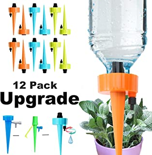 Uddiee 12 Packs Adjustable Self Watering Spikes Automatic Plant Waterer with Control Valve Watering Devices Vacation Drip Irrigation System for Indoor and Outdoor Plants