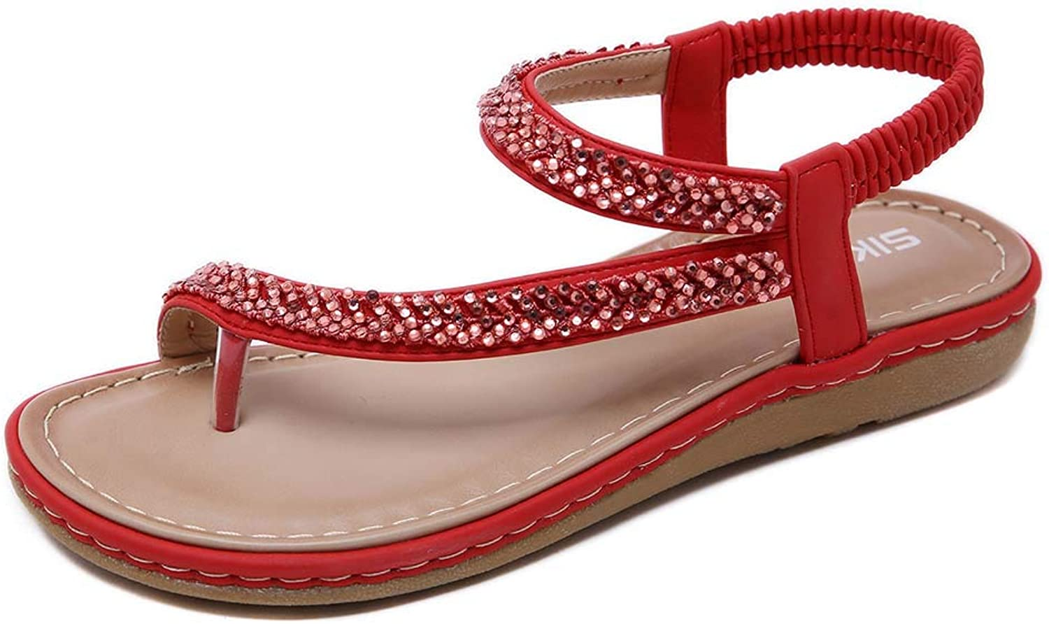 Women's PU Rhinestones Chains Elastic Strappy Flat Bohemia Sandals Summer Beach Wedding shoes,Red,41