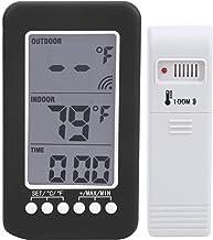 Oreilet Reloj termómetro, termómetro de Pantalla de 4 Pulgadas, inalámbrico Interior/Exterior para Oficina con transmisor Exterior Hogar con Receptor Interior