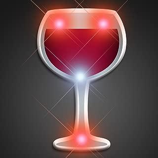 Light Up Wine Glass Flashing Blinking LED Body Light Lapel Pins (5-Pack)