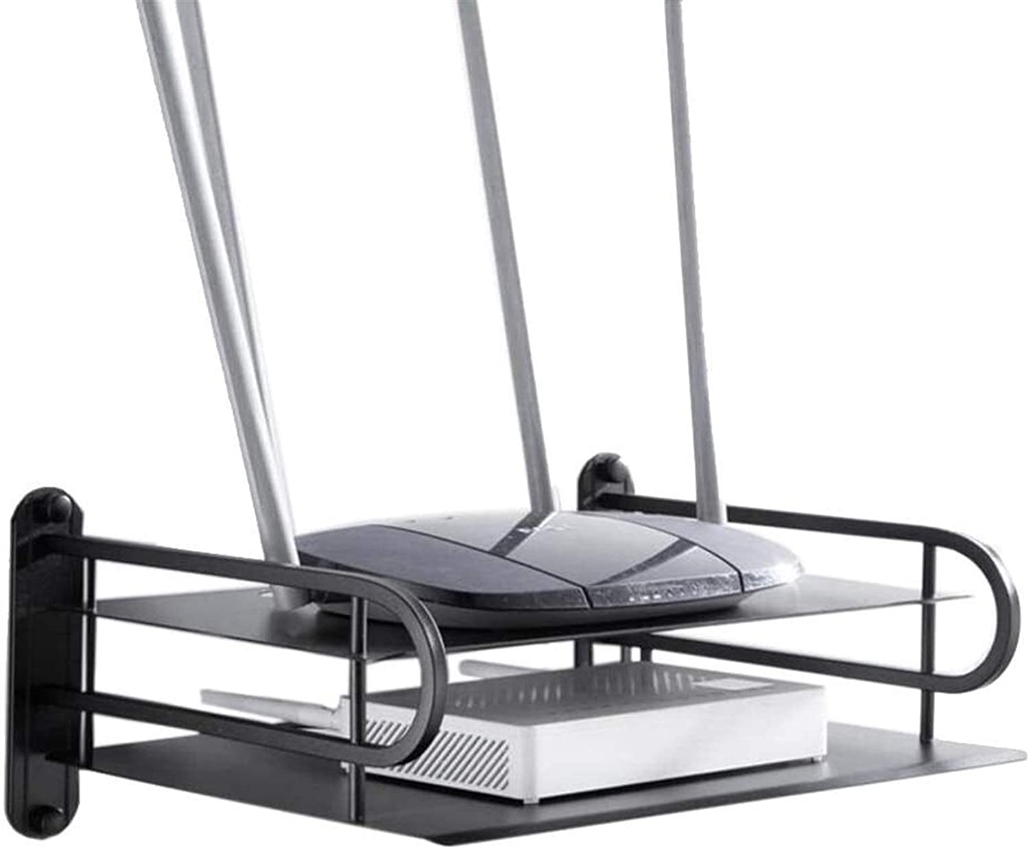 BECCYYLY Router Rack Shelves Ranking TOP3 Black She Mount Wall Popular brand in the world Alloy Alumimum