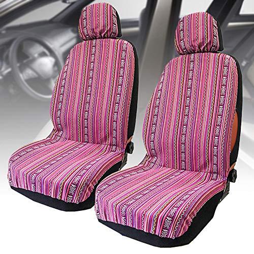szlsl88 4-delig / set autostoelbeschermers, auto voorstoelbekleding, universele vooremmer set hoezen, kleurrijke slijtvaste baja plafond stoelhoezen Eén maat roze