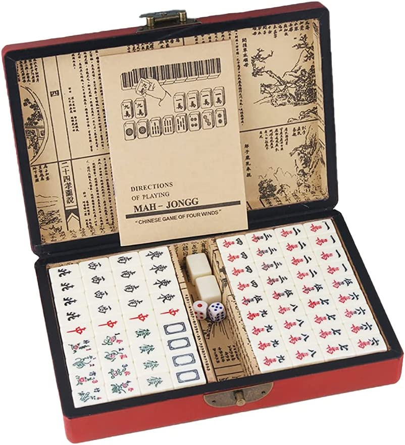 Portable Chinese Family Mahjong Travel Max 79% OFF Super special price Set 2 Mini Tiles 144 with