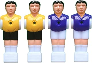 TOYMYTOY 4PCS Table Soccer Men Mini Football Player Replacement Parts for 1.4M Table Football (2pcs Yellow and 2pcs Purple)