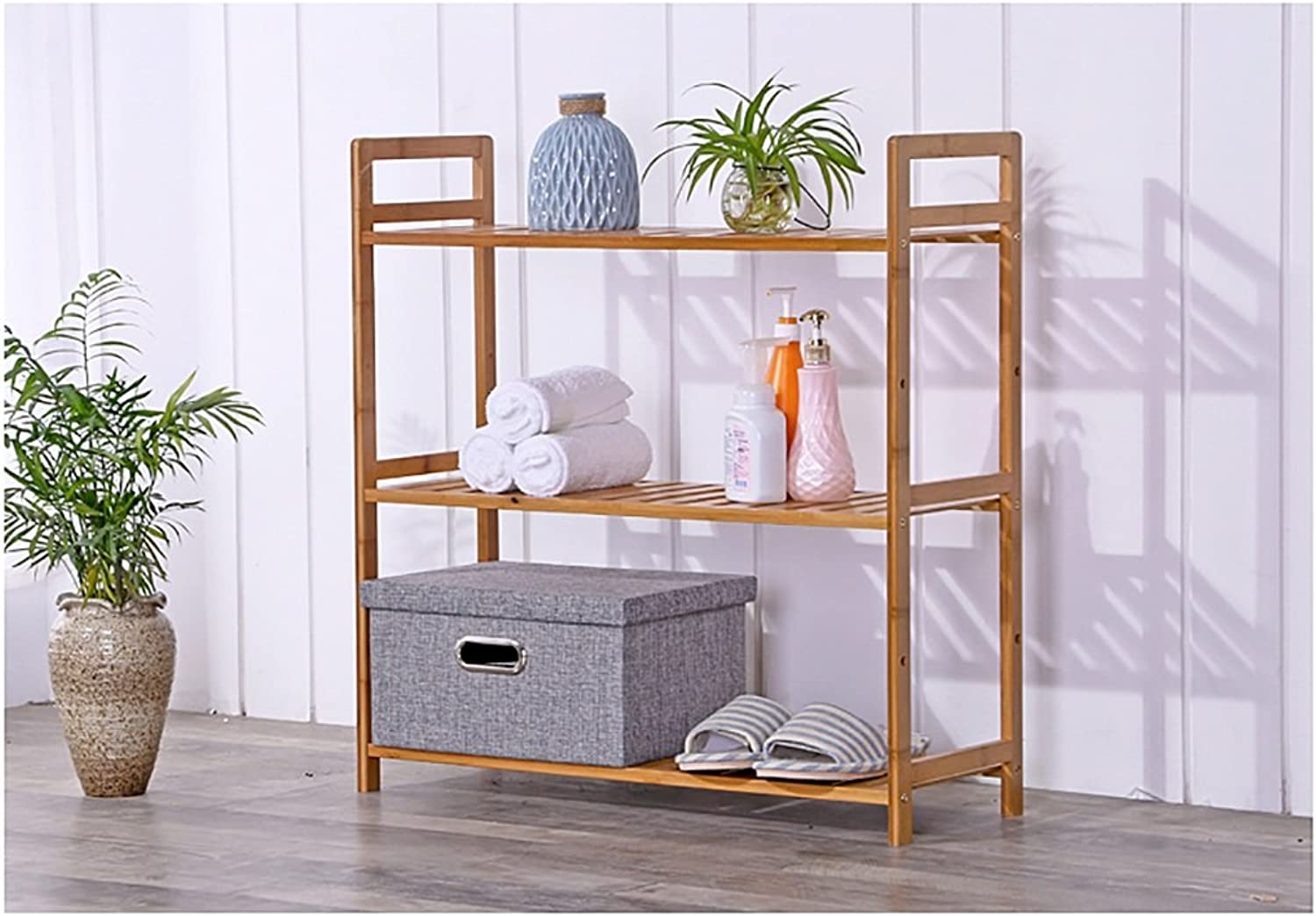shoes Bench Organizing Rack Bamboo shoes Rack Bamboo Racks Simple Bookcase Storage Rack Simple Living Room Partition Solid Wood Storage Rack (Size   35cm)