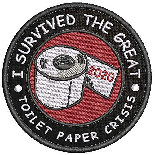 I Survived The Great Toilet Paper Crisis - TP Biohazard Symbol Outbreak Response Team Social Distance 19 Theme Souvenir Embroidered 3.5' Black Patch Iron On or Sew On Biker Emblem Decorative Applique