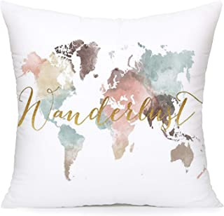 YANGYULU Pillow Covers World Map with Quote Word Super Soft Decorative Throw Pillow Cases Geography Theme Cushion Covers f...