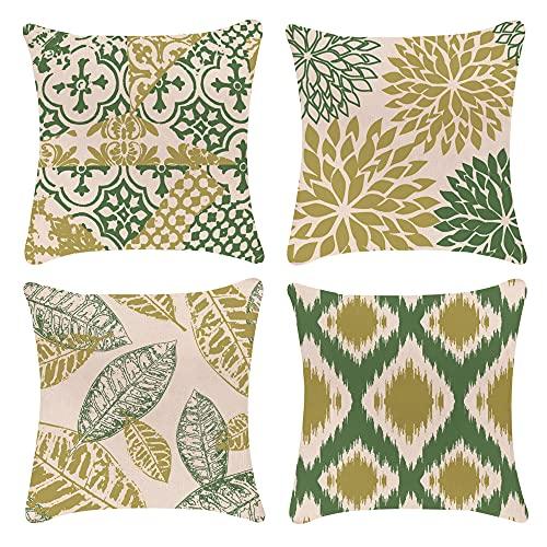 Juego de 4 fundas de cojín decorativas de 40 x 40 cm, lino verde, diseño geométrico, funda de cojín para exterior, funda de cojín decorativa para el sofá
