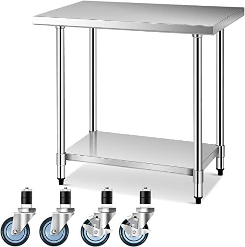 """new arrival Giantex Food Prep Table, Commercial Kitchen Work Table w/ 4 outlet online sale Casters, Stainless Steel Work Table 24""""x36"""" Kitchen Storage Table with Adjustable Shelf high quality and Feet online sale"""