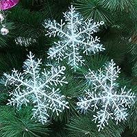 クリスマス飾り Xmas飾り・パーティ ホワイト 雪の結晶 クリスマス ツリー オーナメント 屋内外、結婚式、学園祭 飾り 雪化粧 12個セット (6cm)