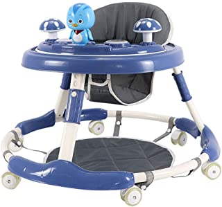 Baby Walker Multi-Function Anti-Rollover Boy And Girl O-shaped legs can be folded up and down for 6-18 months Baby blue Ar...