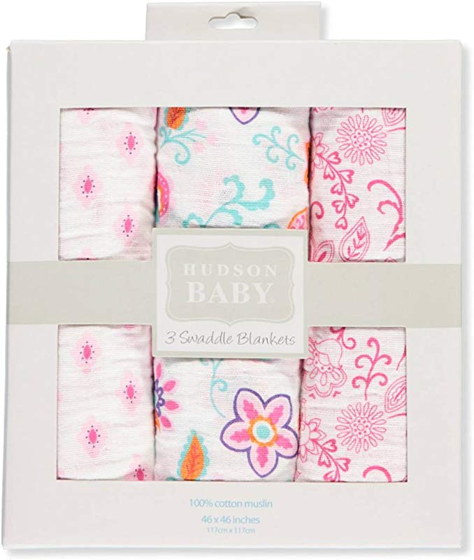 Hudson Baby 3 Pack Swaddle Blankets Pink Multi One Size
