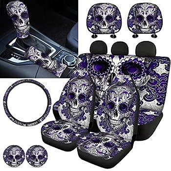 XYZCANDO Purple Sugar Skull Car Seat Cover Set with Handbrake Cover&Gear Shift Cover Set+Headrest Cover for Car15 Steering Wheel Cover+Car Cup Pad Full Set 11 PCS Car Interior Decor