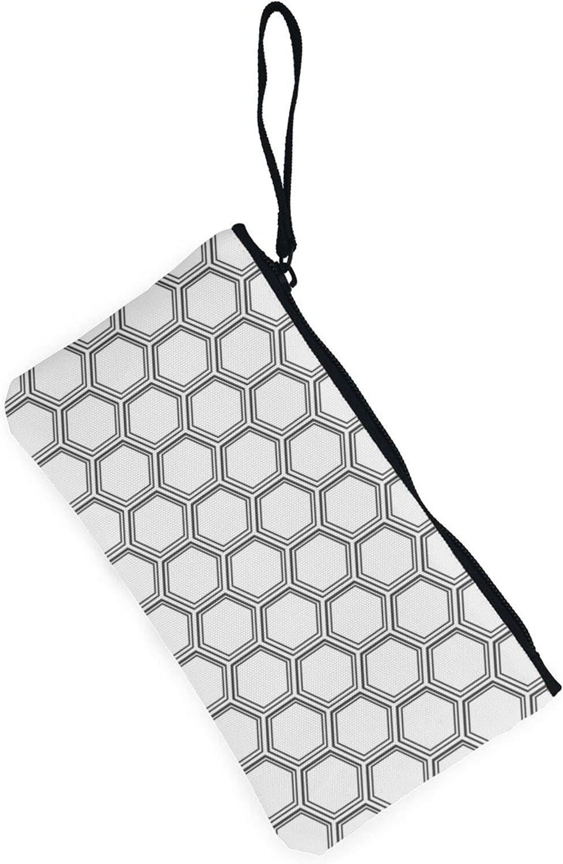 AORRUAM Honeycomb Pattern Canvas Coin Purse,Canvas Zipper Pencil Cases,Canvas Change Purse Pouch Mini Wallet Coin Bag