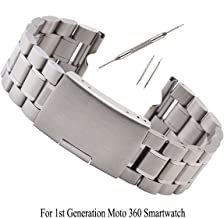 Kuxiu 22mm Stainless Steel Metal Watch Band Strap Bracelet for Motorola Moto 360(1st Generation) Silver+Tools