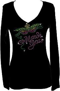 Mardi Gras Rhinestone Party New Orleans V Neck Long Sleeve Tee Shirt
