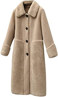 HomeMals Women's Lapel Double-Breasted Thick Wool Trench Coat Jacket Long Sleeve Round Neck Lapel Plush Jacket