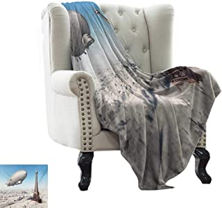 LsWOW Blanket Storage Paris,Zeppelin and Eiffel Tower Over Clouds Sky Dreamy Famous Place on Earth Picture,Blue and Grey Lightweight Microfiber,All Season for Couch or Bed 35