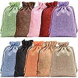 Noverlife - 10 bolsas de arpillera de colores con cordón para regalo de yute,...