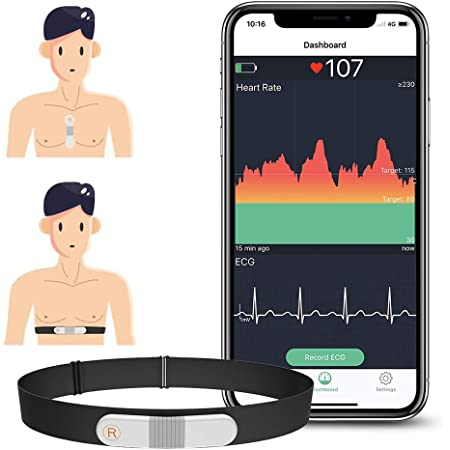 ViATOM Monitor de Ritmo Cardíaco Cinturón Torácico, Bluetooth ANT+, Monitor de ECG con Cojinetes de Ejercicio, Se Puede Usar sin Cables, Registrador de Frecuencia Cardíaca con la Alarma de Vibración