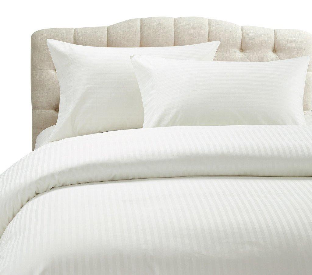 Duvet Cover or 3PC Duvet Set 1000 TC Egyptian Cotton White Stripe All UK Sizes