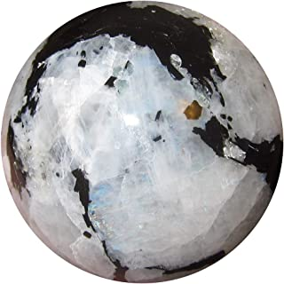 Satin Crystals Moonstone Tourmaline Sphere Crystal Healing Ball Clairvoyant Psychic Intuition Lunar Energy White Sheen Stone- India Premium P01 (2.1 Inch)